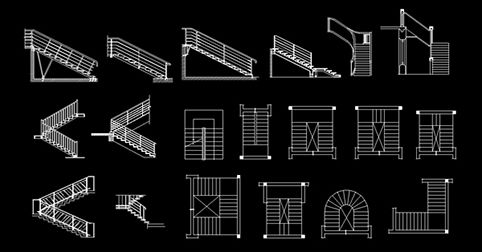 cad blocks stairs dwg 2d