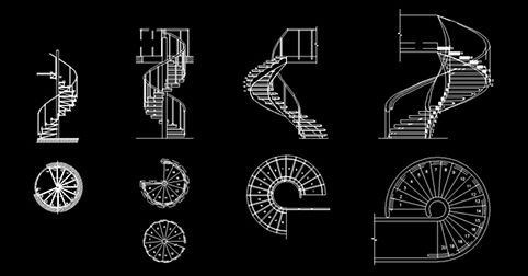 cad blocks spiral staircase 2d dwg