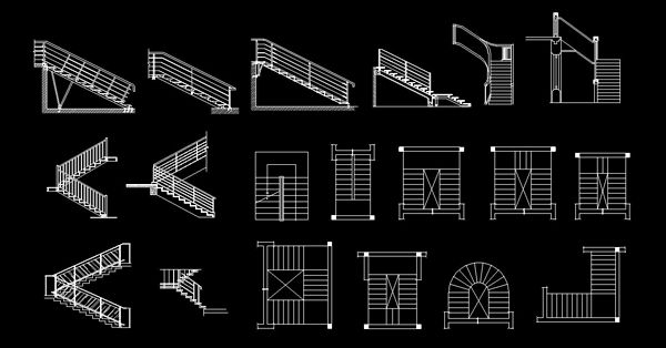 CAD Blocks stairs dwg download 2d
