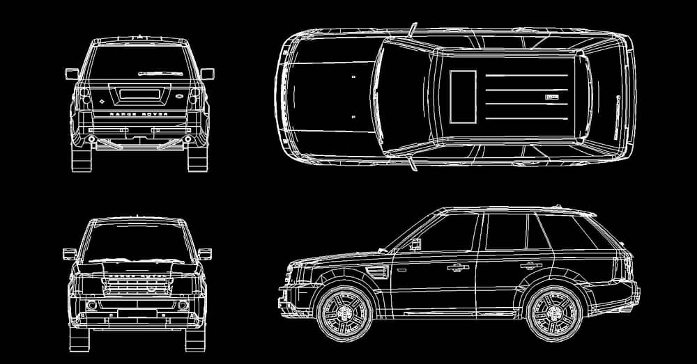 cad blocks Range Rover SUV dwg free download